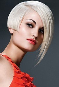 Side swept asymmetric fringes at ascot hair salon